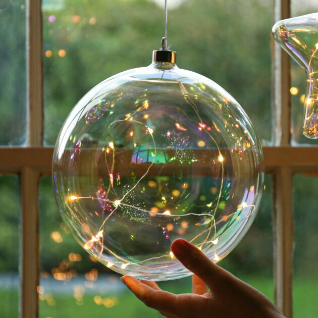 Iridescent Battery LED Christmas Tree Bauble