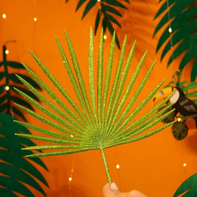 38cm Green Glitter Tropical Stem Christmas Tree Decoration
