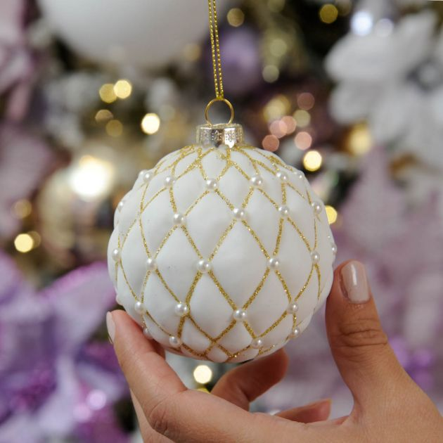 8cm White and Gold Cushion Christmas Tree Bauble