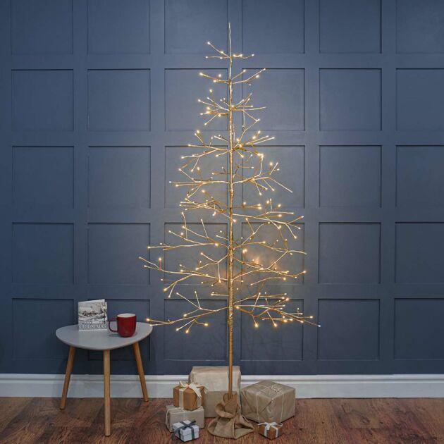Pre Lit Champagne Gold LED Twig Tree