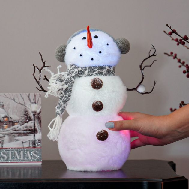 32cm White Battery Tabletop Snowman, Colour Changing LEDs