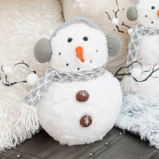 38cm White Battery Tabletop Snowman, Colour Changing LEDs