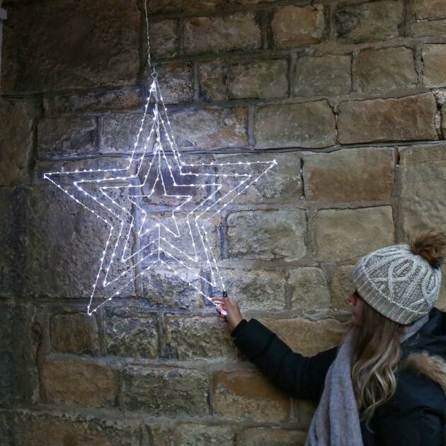 77cm Hanging Firefly Star Silhouette, 230 White Flashing LEDs