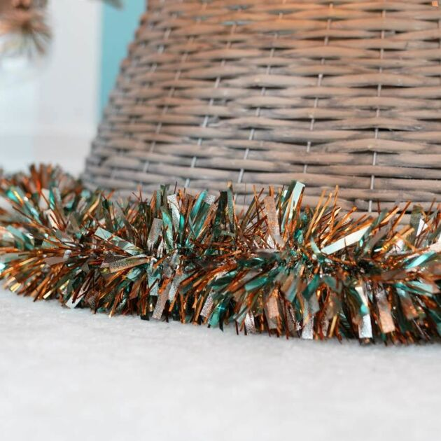 2m Silver, Teal & Copper Tinsel Christmas Tree Decoration