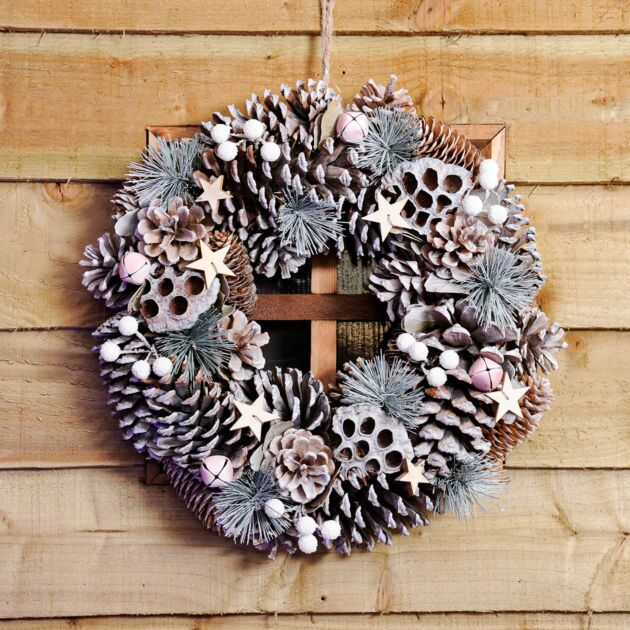 36cm White Pinecone and Berries Christmas Wreath