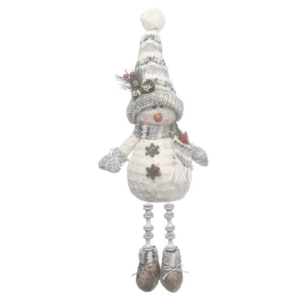 38cm White and Grey Dangly Leg Snowman with Large Hat