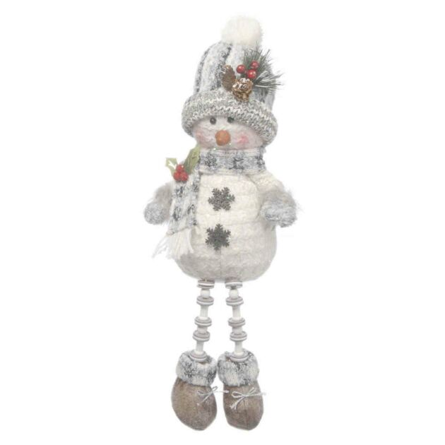 38cm White and Grey Dangly Leg Snowman with Small Hat