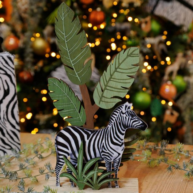 30cm Laser Cut Zebra With Tree Table Top Decoration