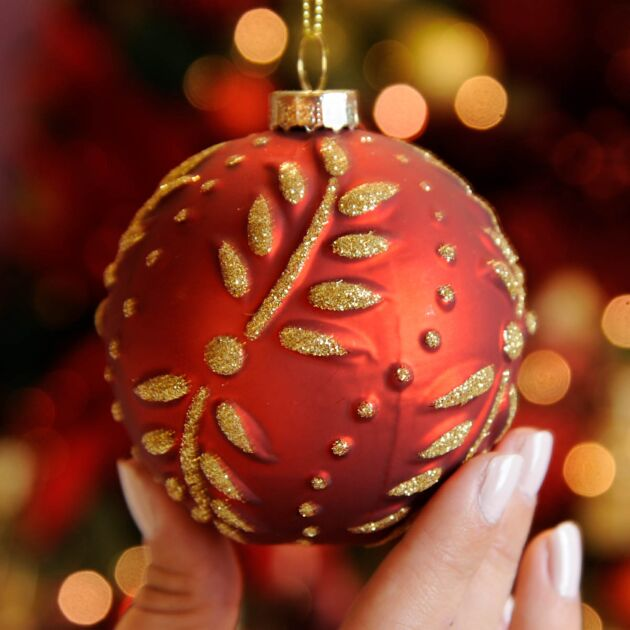 8cm Red Leaf Design Glass Christmas Tree Bauble