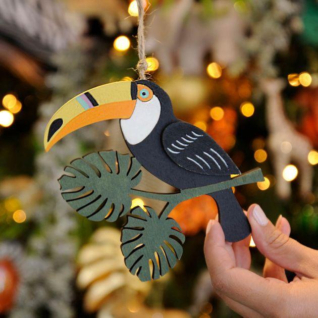 14cm Wooden Toucan Christmas Tree Decoration