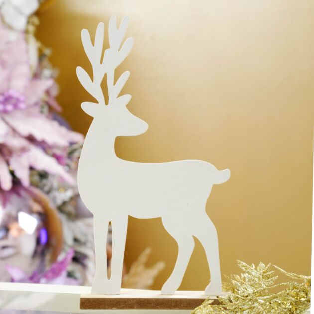 32cm White Wooden Stag Table Top Decoration