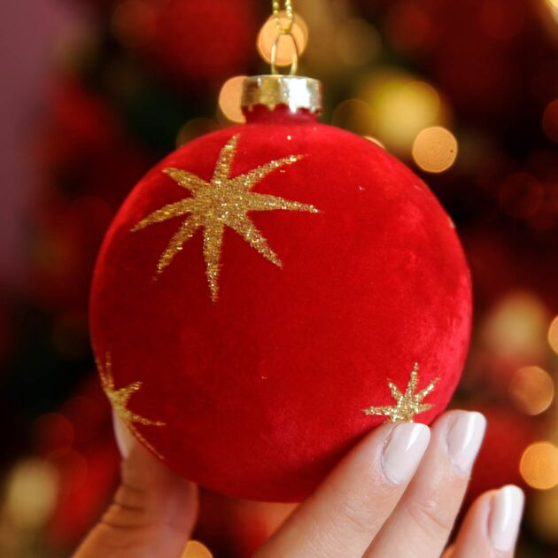 8cm Red Star Design Glass Christmas Tree Bauble