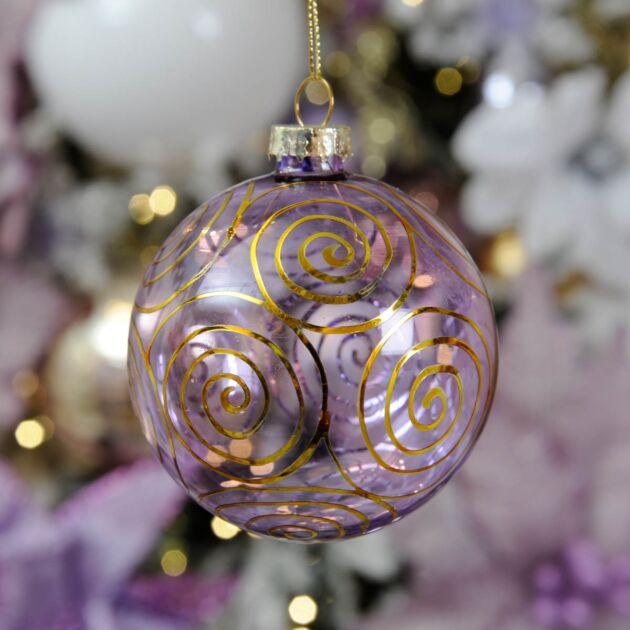8cm Swirl Glass Christmas Tree Bauble