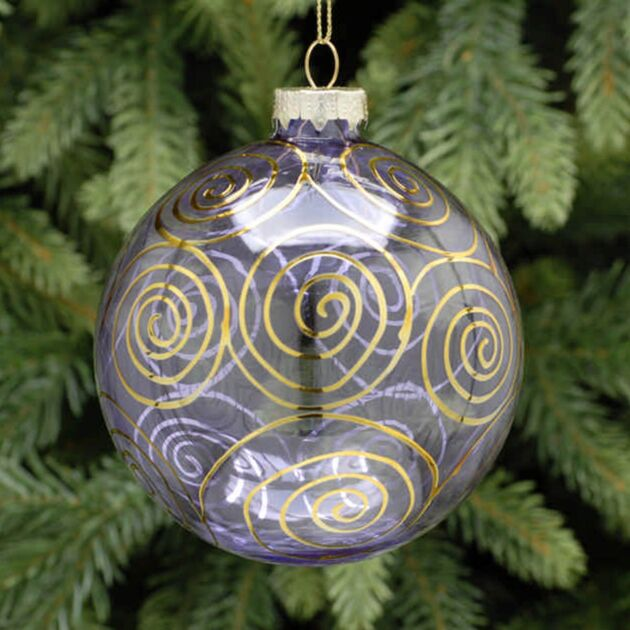 10cm Lilac with Gold Swirl Glass Christmas Tree Bauble