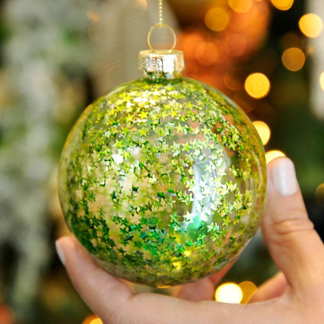 8cm Clear with Green Glitter Glass Christmas Tree Bauble