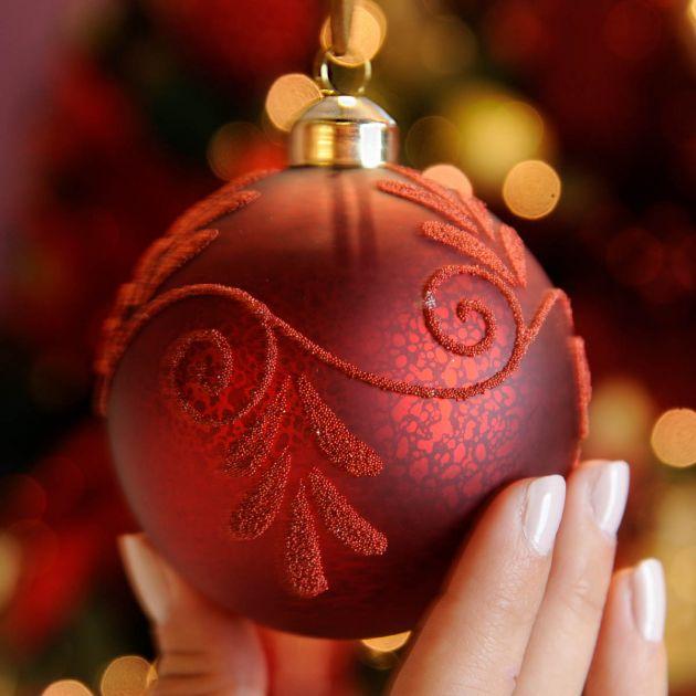 8cm Red Matt Mercury Effect Bead Glass Christmas Tree Bauble