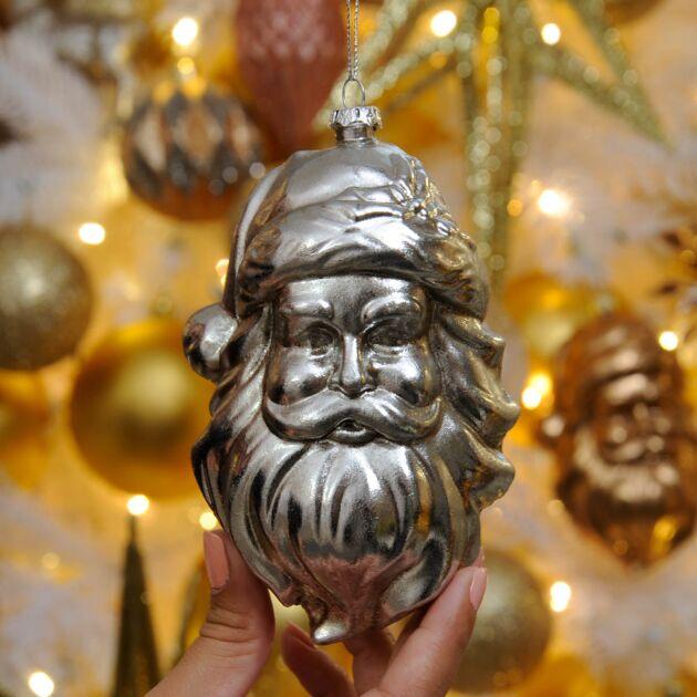 13cm Santa Head Christmas Tree Bauble