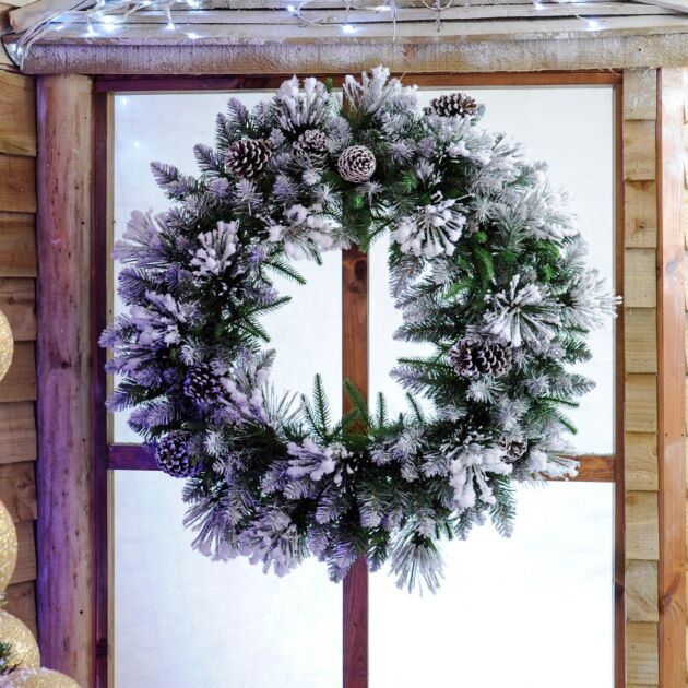 80cm Flocked Christmas Wreath with Cones