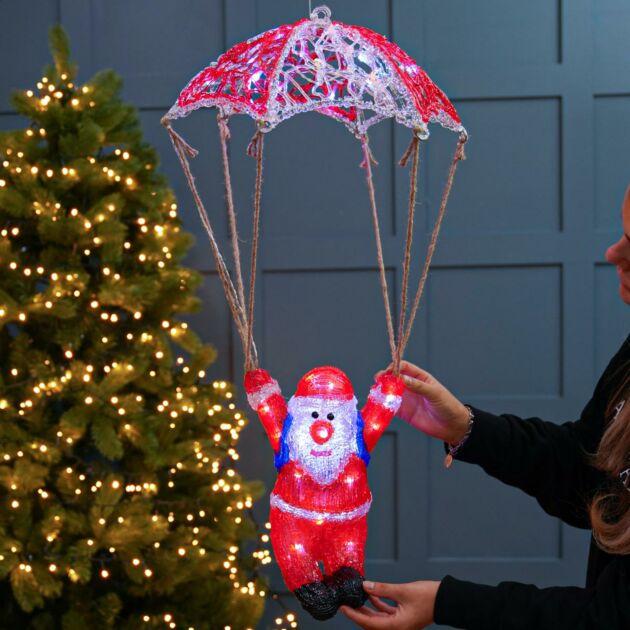 60cm Acrylic Parachuting Santa Figure