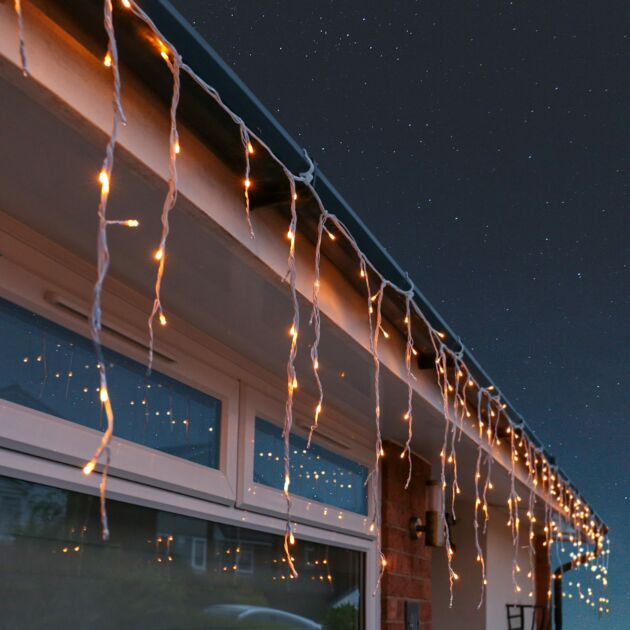 Outdoor Icicle Lights, 240 Warm White LEDs