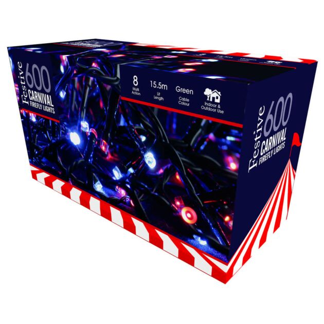 Outdoor Plug In Carnival Fairy Lights, Red and White LEDs