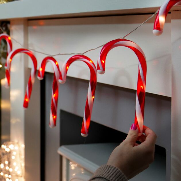 Battery Candy Cane Christmas Fairy Lights