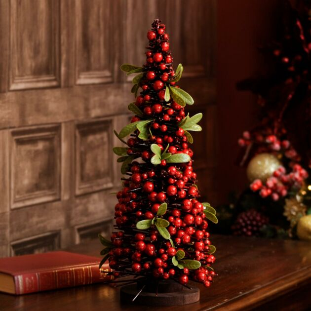 Red Berry and Green Leaf Table Top Christmas Tree