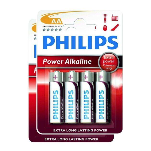 Philips Power Alkaline AA Batteries (Pack of 8)