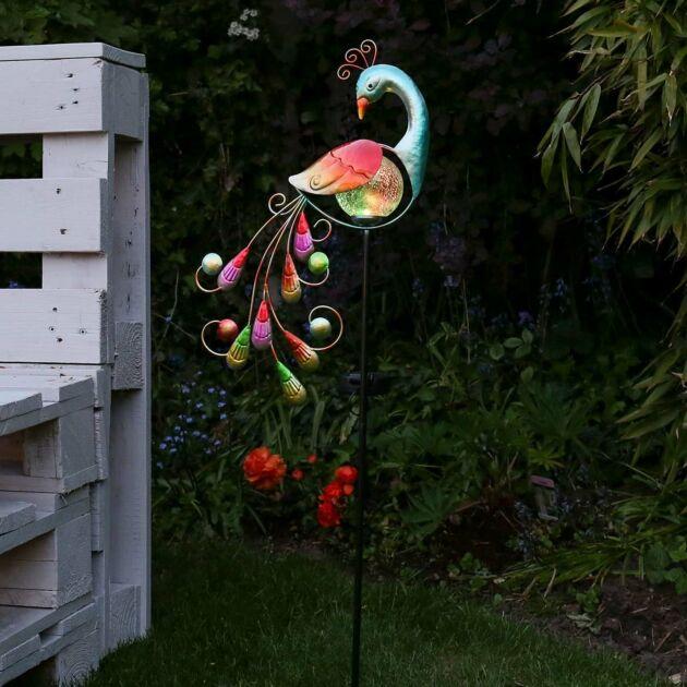 Solar Garden Peacock Stake Light, 81cm