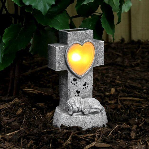 Solar Dog Memorial Light, 21cm