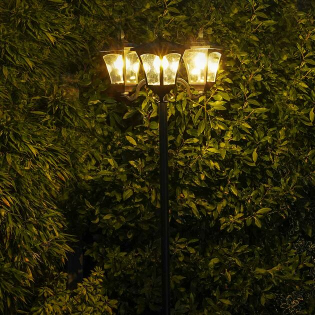 Solar Filament Effect LED Triple Head Security Lamp Post, 2.1m