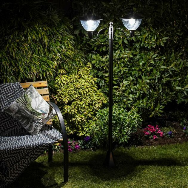 Solar Dome Twin Head Security Lamp Post, 2.1m