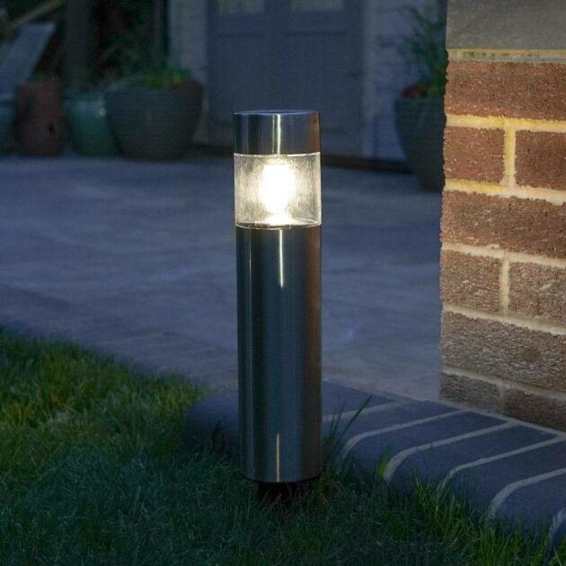 Solar Stainless Steel Filament Effect LED Bollard Light