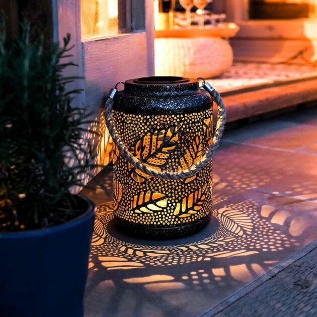 Solar Metal Leaf Lantern