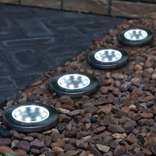 Solar Stainless Steel Round Ground Spike Lights, 4 Pack