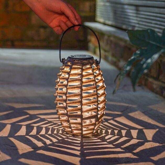 20cm Solar Rattan Style Hanging Lantern