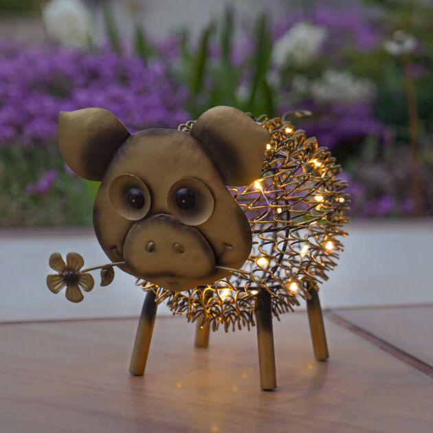 Solar Antique Brass Metal Novelty Pig Light