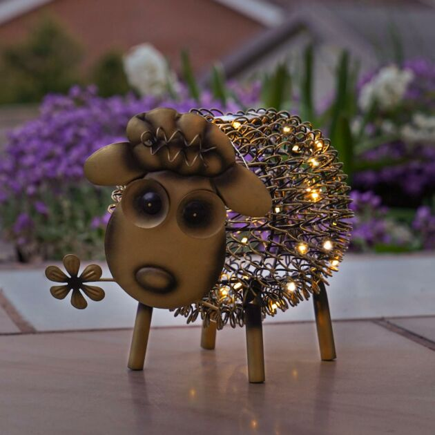 Solar Antique Brass Metal Novelty Sheep Light