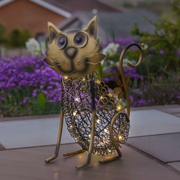 Solar Antique Brass Metal Novelty Cat Light