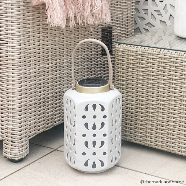 Solar Grey Ceramic Lantern