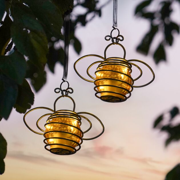 Solar Hanging Bee Lights, 2 pack