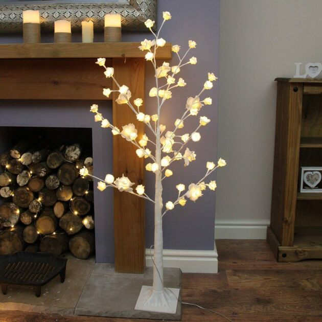 4ft Plug In Pre Lit Rose Twig Tree, 72 Warm White LEDs