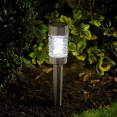 Super Bright Solar Stainless Steel Stake Lights, 4 Pack