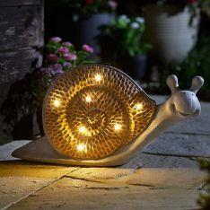 Solar Novelty Woodstone Snail Light