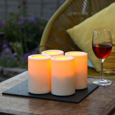 Outdoor Battery Flickering Pillar Candle, 4 Pack