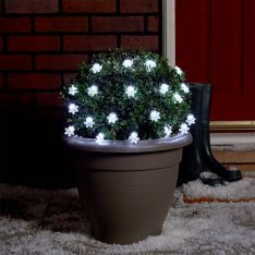 5m Outdoor Battery Snowflake Fairy Lights, Green Cable