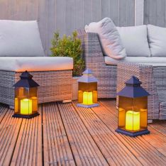 Outdoor Battery Smoked Glass Effect Flickering Candle Lantern, 31cm