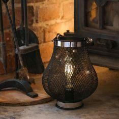 Battery Teardrop Metal Filament Effect LED Lantern
