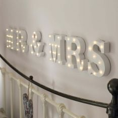 Mr & Mrs Battery Light Up Circus Letters, Warm White LEDs