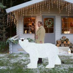 1.7m Large Male Polar Bear Commercial Sculpture, 3,600 White LEDs